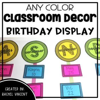 Birthday Display  - Any Color Classroom Decor