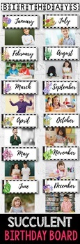 Birthday Display Editable - Cactus Theme Classroom Birthday Board