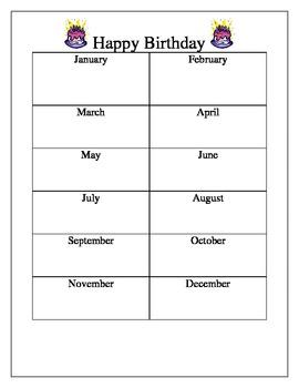 Birthday Display Chart Classroom Organization Classroom Management