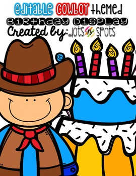 Editable Birthday Display (Cowboy/Western theme)