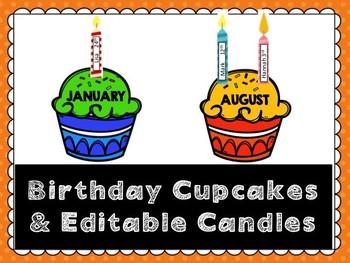 Birthday Display- Cupcakes and Candles (Editable)