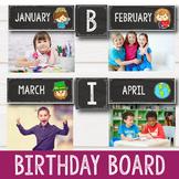 Birthday Display Editable - Chalkboard Theme Classroom Bir