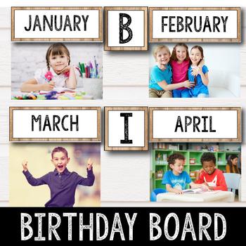 Birthday Display Editable - Farmhouse Theme Classroom Birthday Board