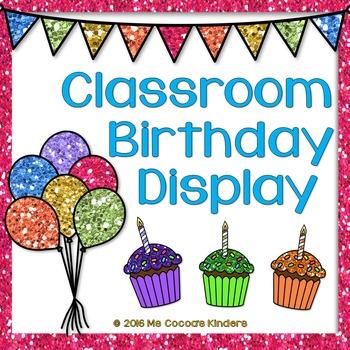 Editable Birthday Display - Glitter w/ White Background