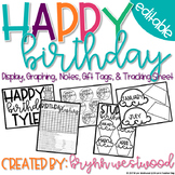 Birthday Display, Graphing, Notes, Gift Tags, & Tracking Sheet