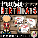 Birthday Bulletin Board Display, Certificates, & Banner {w
