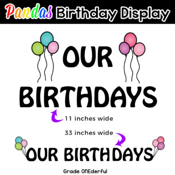 Panda Bears Birthday Display - Editable