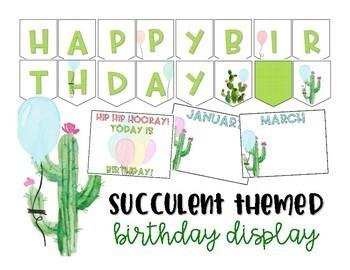 Editable Birthday Display - Succulent - Cactus - Classroom Decor
