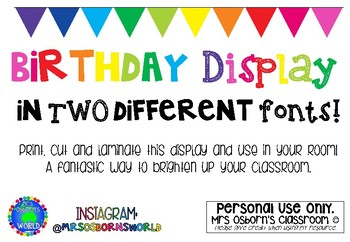 Birthday Display - TWO FONT CHOICES