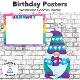 Birthday Display - Watercolor Gnome Theme