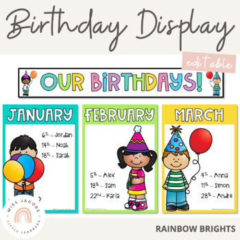 Birthday Display with Banner - Editable {Rainbow Theme}