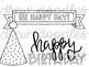Birthday Doodles Digital Clip Art Set- Black Line Version