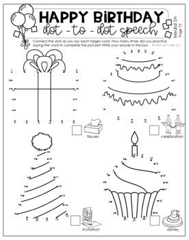 Birthday Dot-to-Dot Articulation