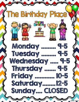 Birthday Dramatic Play and Writing Center