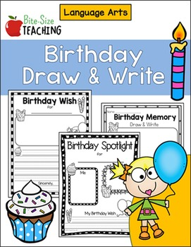 Birthday Draw & Write Language Arts Worksheets