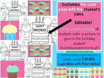 Birthday Editable Coloring Pages and Cupcake Cards- Editable