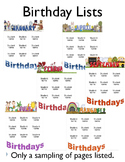 Birthday Editable Lists
