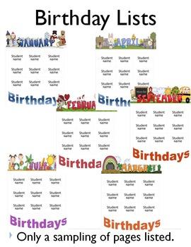 Birthday Editable Lists
