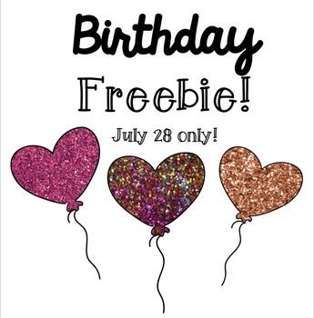 Birthday Freebie! 3 Heart Glitter Balloons!