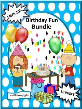 Birthday NO PREP/LOW PREP Math and Literacy Centers Printables