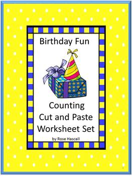 NO PREP Birthday Cut and Paste Math & Literacy Centers Wor