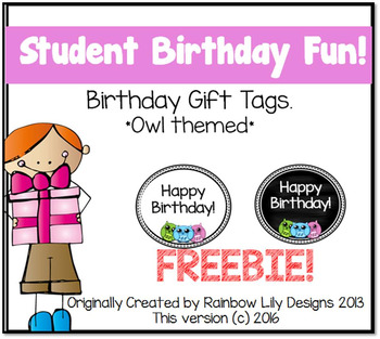 Student Birthday Gift Tags Owl themed