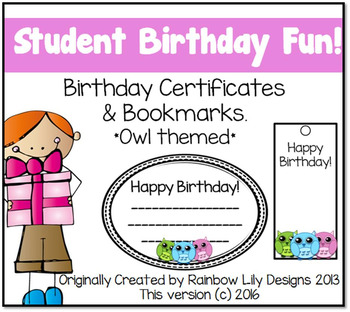Birthday Certificates and Bookmarks Owl themed