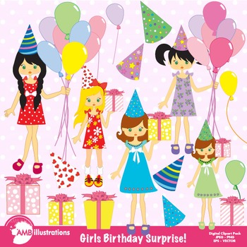 Birthday Clipart, Birthday Party Clipart, Girl Clipart, Clip Art AMB-251