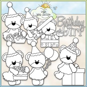 Birthday Girl Bears Clip Art - Birthday Clip Art - CU Clip Art & B&W