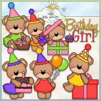 Birthday Girl Bears Clip Art - Birthday Clip Art - CU Clip