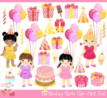 Birthday Girls 2 Clipart Set