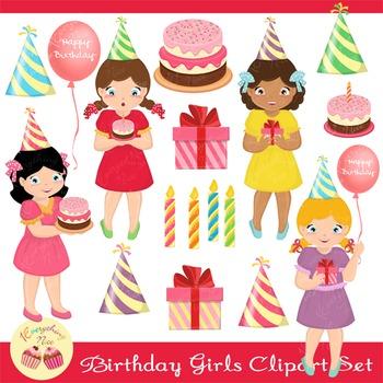 Birthday Girls Clipart Set