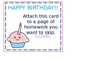 Birthday HW Pass