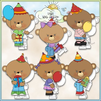 Birthday Hats Bears 1 - Commercial Use Clip Art & Black & White Images