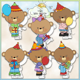 Birthday Hats Bears 1 - Commercial Use Clip Art & Black &