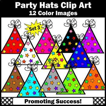 Birthday Hats Clipart with Stars Theme SET 3 Birthday Party Hats Clip Art SPS