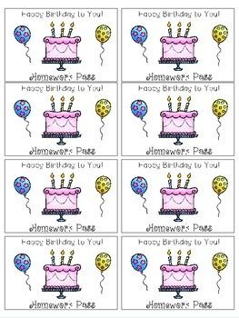Birthday Homework Pass