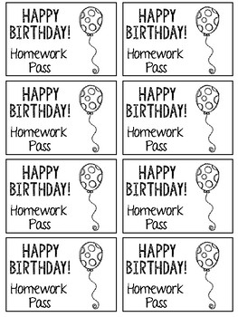 Birthday Homework Pass