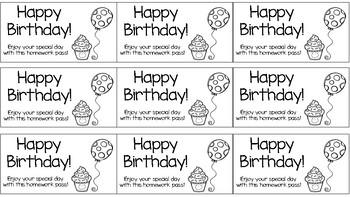 Birthday Homework Pass Freebie