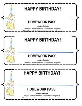 Birthday Homework Pass (May be personalized)