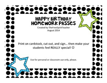 Birthday Homework Passes