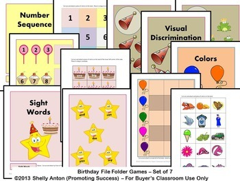File Folder Activities for Special Education Autism Birthday Theme ESL Speech