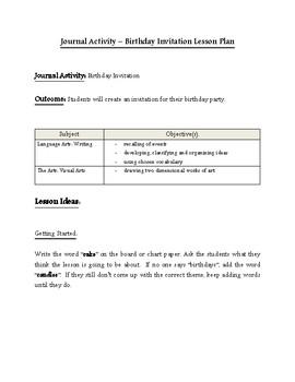 Birthday Invitation Activity and Lesson Plan