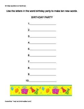 Birthday Joy Extension Activities