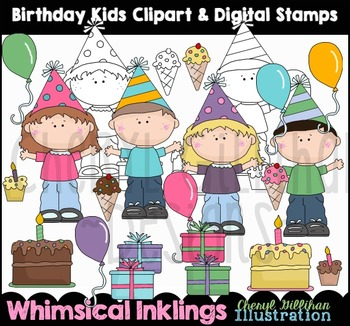 Birthday Kids Clipart Collection NO LICENSE REQUIRED