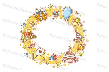 Birthday Kids, Pattern, Frame and Objects