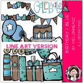 Birthday clip art - Blue/Pink - LINE ART- by Melonheadz