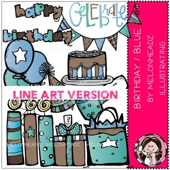 Birthday clip art - Blue/Pink - LINE ART- by Melonheadz
