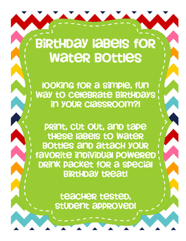 Birthday Labels for Water Bottles
