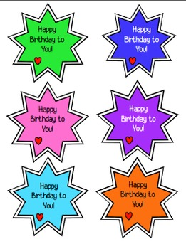 Birthday Letters, Monthly Chart, and Birthday Gifts for Upper Elementary